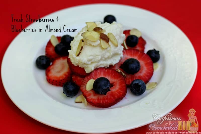 Fresh Strawberries And Blueberries with Almond Cream