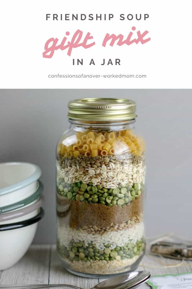Gifts in a Jar for Christmas: Friendship Soup Gift Mix #soupmix #giftsinajar #christmasrecipes #christmasgiftmix #christmas