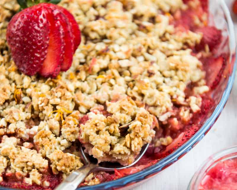 Strawberry Rhubarb Crumble Recipe With Whipped Cream
