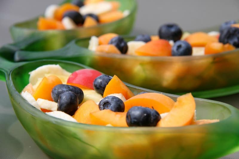 fruit salad in green bowls