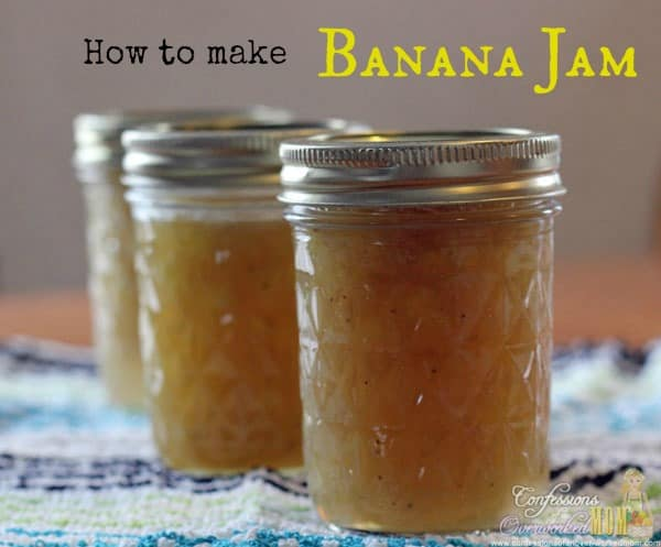 3 containers of banana jam on a kitchen towel