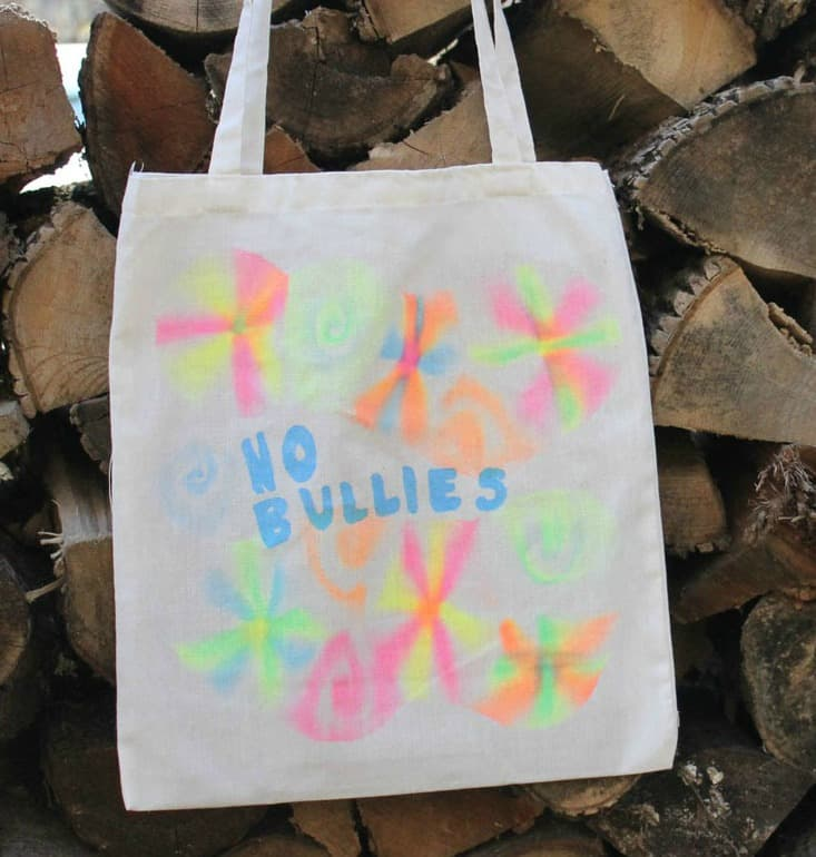 tote bag with anti bullying saying