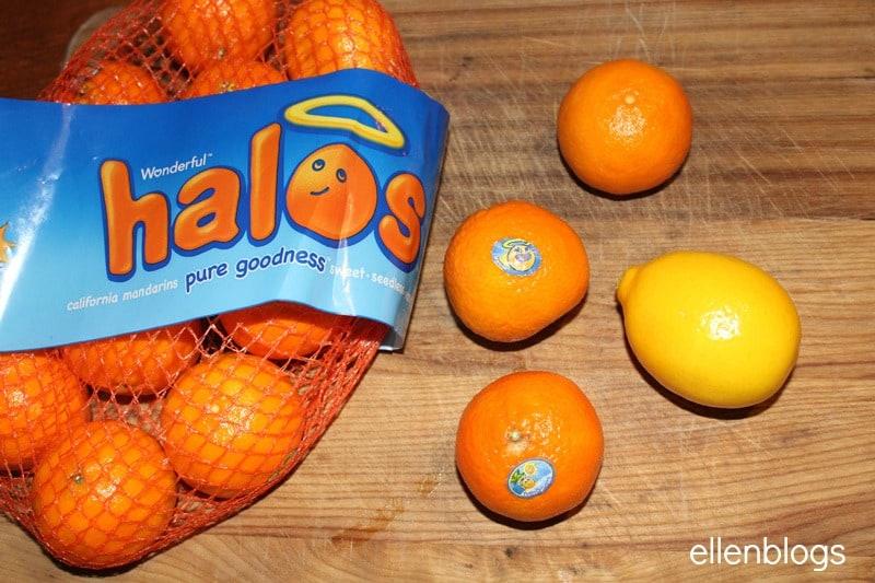 A bag of Halos on a cutting board