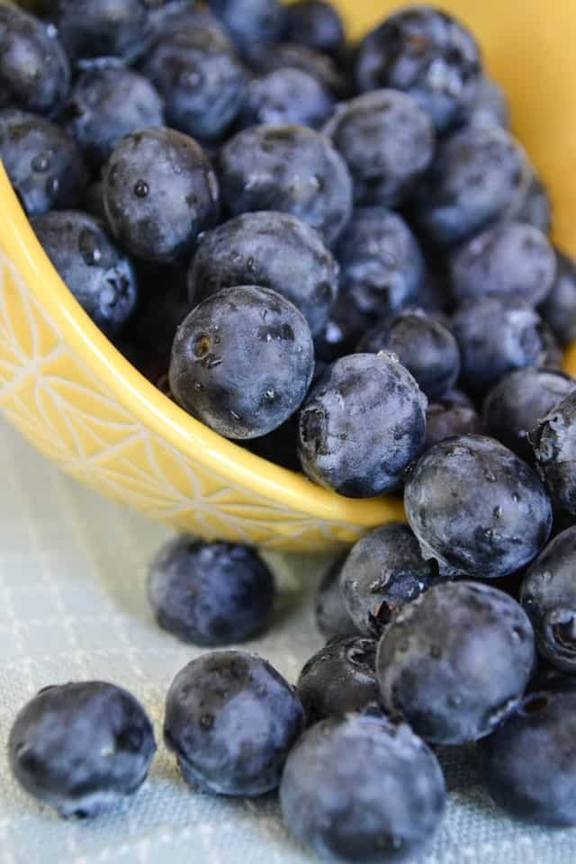 fresh blueberries in a yellow bowl