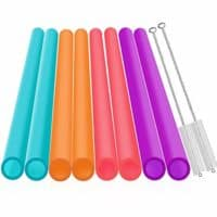 Extra Wide Reusable Smoothie Straws, Great for Bubble Tea, Boba Tea and Milkshakes, 10.25 Inches Long, 10 Pieces Jumbo Eco Friendly Plastic Straws with 2 Cleaning Brushes, BPA Free